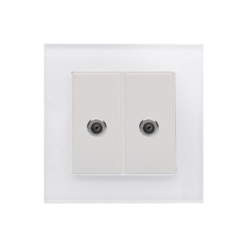 RetroTouch Dual Satellite F Type Socket White Glass PG 00354
